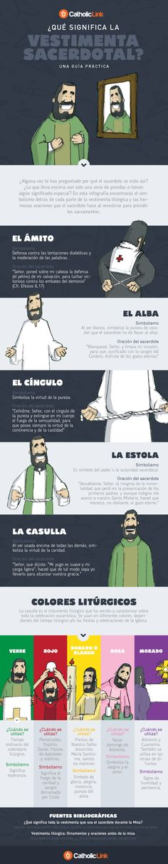 Mi pequeños aportes: ¿Que significa la vestimenta del Sacerdote?  Aquí les dejo una infografía con el simbolismo de cada prenda que viste el sacerdote #Infografia #Religion