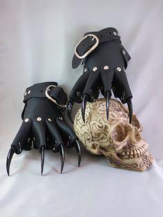 Black Leather Gothic Steampunk Claw Gauntlets / by Medievalfashion, $39.95