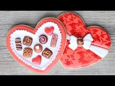 Valentine's Chocolates Cookies - Heart shaped box - Step by step instructions - Decorated Valentine's Cookie – Step by step instructions to make your own box of chocolate cook - Valentines Baking, Valentines Sweets, Valentine Chocolate, Valentines Day Cookies, Valentine Nails, Valentine Ideas, Valentine's Day Sugar Cookies, Sugar Cookie Royal Icing, Chocolate Sugar Cookies