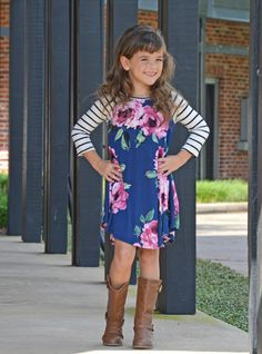 Stripes And Floral Dress, Dress, Striped Sleeved Dress, Ryleigh Rue Clothing, Fashion, Style, Online Boutique, Online Shopping, Utah Boutique, Boutique, Kids Clothing