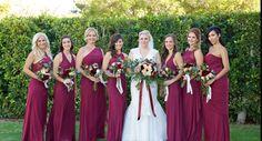 Burgundy bridesmaid dresses Burgundy Bridesmaid Dresses, Florals, Wedding Ideas, Weddings, Wedding Dresses, Fashion, Floral, Bride Dresses, Moda