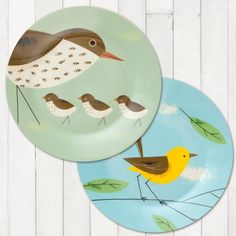 Birdy Dinner Plates, Thrush & Wagtail http://www.flamingogifts.co.uk/products/birdy-dinner-plates-thrush-and-wagtail