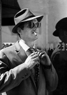 Jean Paul Belmondo in À bout de souffle AKA Breathless(Jean-Luc Godard, 1960)