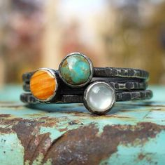 Tres Stacking Rings... Turquoise - Spiny Oyster - Mother of Pearl by Lunasa Designs