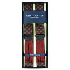Exquisite Trimmings | Accessories | Braces | Wine Neat Print Braces Braided Ends Wine neat print elastic braces. Finished with navy leather and wine braided ends. Albert Thurston sources their elastic in France