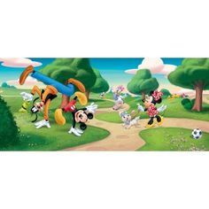 """Panoramic wallpaper for kids bedroom Disney """"Mickey Mouse"""" wall mural for sale online Childrens Bedroom Wallpaper, Nursery Wallpaper, Kids Bedroom, Bedroom Ideas, Disney Wall Murals, Wall Stickers Murals, Wall Decals, Disney Mickey Mouse, Walt Disney"""