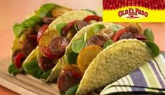 Spicy sausage with baby new potatoes and red peppers, served in taco shells on a crisp bed on fresh baby leaf spinach. #recipe #picknpay