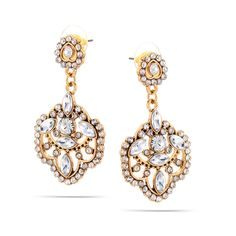 Tazza Gold-Tone Metal Crystal Drop Earrings