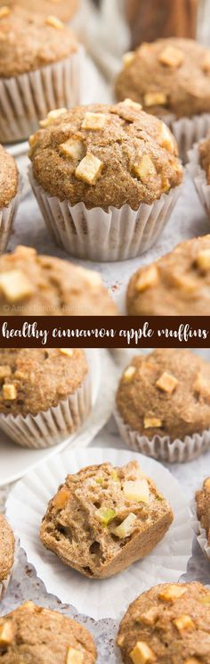 {HEALTHY!} Cinnamon Apple Mini Muffins -- only 32 calories! They taste like apple pie for breakfast! This easy recipe was an instant favorite in our family!  Makes 36 mini at 32 calories or 12 regular muffins.
