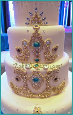 Indian wedding cake with Jewels...@ ibakecakes.ca. There's soo many cakes that I like that idk if I would want at my dream wedding!!!