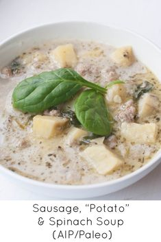 "Sausage, ""Potato"" &Spinach Soup (AIP/Paleo) I would switch the meat to hamburger Paleo Soup, Paleo Recipes, Soup Recipes, Free Recipes, Recipies, Weekly Recipes, Paleo Ideas, Recipes Dinner, Healthy Recipes"