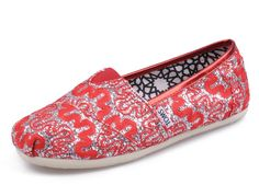 Red Womens Glitters TOMS Shoes Sale