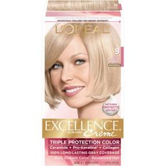 L'Oreal Paris Excellence Creme Permanent Hair Color, Beige Beautiful Blonde Hair, Gorgeous Hair Color, Grey Hair Coverage, Light Ash Blonde, At Home Hair Color, Air Dry Hair, Natural Blondes, Copper Hair, Types Of Curls