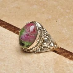 Natural Ruby Zoisite Ring Sterling Silver 925 stamped Jewelry Rings