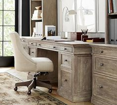 Washed look. This is not on sale right now, but shipping is free!  Livingston Large Desk #potterybarn