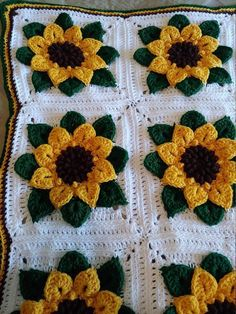Best 12 Bring the garden indoors all year round with this unique sunflower afghan. This blanket/afghan is crocheted using Caron worsted weight Granny Square Crochet Pattern, Crochet Flower Patterns, Afghan Crochet Patterns, Crochet Squares, Crochet Flowers, Crochet Quilt, Crochet Motif, Crochet Stitches, Blanket Crochet