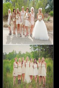 Love this idea of similar colored but different dresses and any shoes
