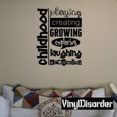 Childhood playing creating growing exploring Wall Decal - Vinyl Decal - Wall Decal - Mv001