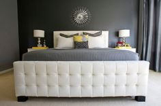 Gray and Yellow Decorating | ... Chic bedroom with a white and grey décor and small yellow touches