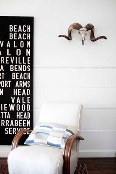 beach cottage of real living editor Deborah Bibby via design sponge - I'm always a fan of mounts