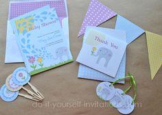Printable Elephant Baby Shower Invitations Templates Tea Party Invitation Kits