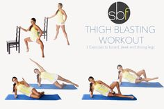 Tone and define your inner and outer thighs and more with this quick, three part workout. Al you need is something sturdy to hold onto, a mat, and a light