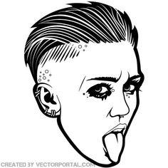 Singer Miley Cyrus vector portrait.