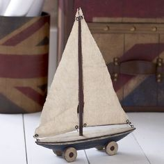 Toy box wooden sail boat 20% off