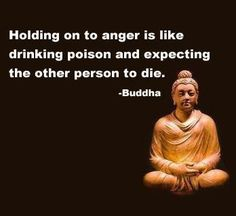 Holding on to anger is like drinking poison and expecting the other person to die.~Buddha