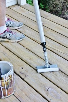 Does your deck need a makeover? Here's an easy tutorial on how to stain a deck the easy way - same amazing results without all the back-breaking work! Stain Techniques, Painting Techniques, Deck Staining, Porch Plans, Thistlewood Farms, Outdoor Projects, Decks, Garden Tools, Gadgets