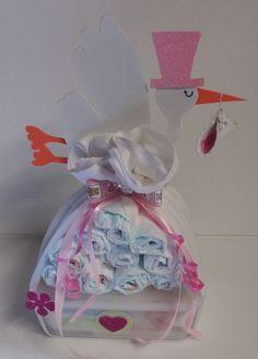 ♥ Windeltorte Windelbündel rosa Babygeschenk Taufgeschenk Mitbringsel Mädchen ♥