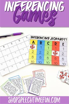 Build your students' skills in making and expressing inferences with these three games and accompanying review worksheets. All three games have students practicing how to respond to inferential questions, but each game works in a different way. All games incorporate visual and auditory skills--and fun!