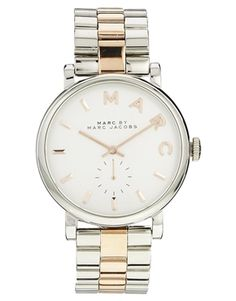 Marc+By+Marc+Jacobs+Baker+Silver+&+Rose+Gold+Two+Tone+Watch+MBM3312