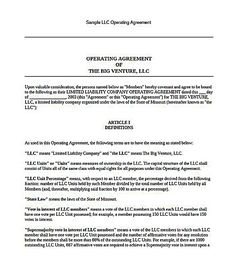 Llc Operating Agreement California LLC Operating Agreement - California llc operating agreement template