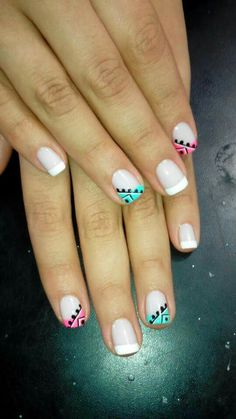 70 Trendy Spring Nail Designs are so perfect for this season Hope they can inspire you and read the article to get the gallery. Pink White Nails, Mint Nails, Gold Nails, Cute Nails, Pretty Nails, Crazy Nails, French Tip Nails, Nail Decorations, Creative Nails