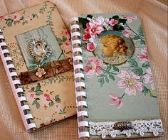 wallpaper covered altered tag books by Karla's Cottage, via Flickr
