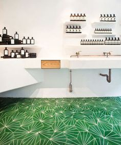 Claesson-Koivisto-Rune design for Marrakech Design: Dandelion in lawn/milk (shown ex., Aesop, Covent Garden, London). 104-185 €/sq.meter