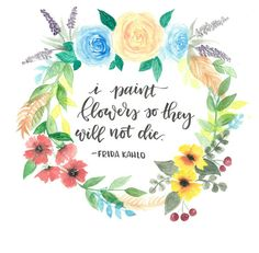 Frida Kahlo Floral Wreath Quote