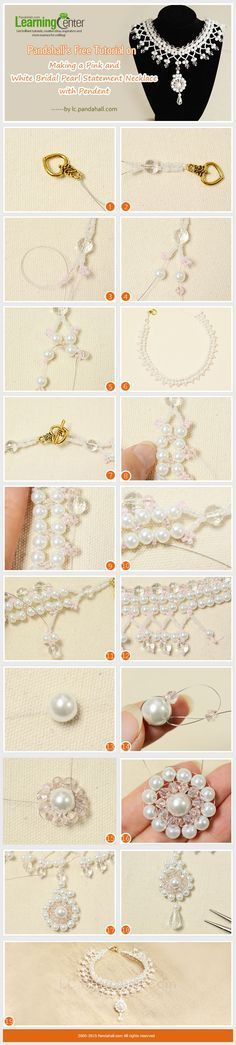 Pandahall's-Free-Tutorial-on-Making-a-Pink-and-White-Bridal-Pearl-Statement-Necklace-with-Pendent