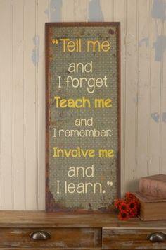 'Involve Me' Tin Sign.