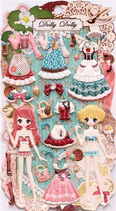 traditional dirndl girls dress up doll puffy sponge stickers