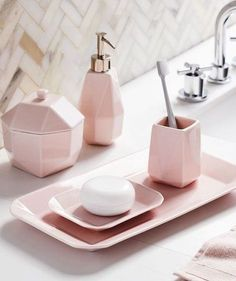 Faceted Porcelain Bath Accessories - Pink west elm Set of 5 Guest Bathrooms, Bathroom Sets, Small Bathroom, Modern Bathroom, Rental Bathroom, Bathroom Canvas, White Bathroom, Bathroom Renovations, Master Bathroom