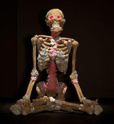 Extreme yarn bombing  Olek, Crocheted Skeleton, 2013
