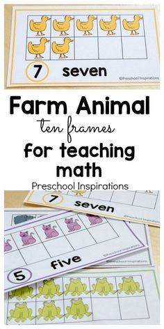 These farm themed free math printables are perfect for helping children count and learn about numbers. Use these in a math center or a small group, or you can even hang them on the wall. Use these farm themed ten frame cards to make math fun for young chi Farm Animals Preschool, Preschool Math, In Kindergarten, Preschool Themes, Preschool Letters, Teaching Math, Teaching Ideas, Math Activities For Kids, Kids Learning