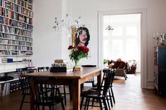 This house blogpost is amazing...love the bookshelves in the dining room!