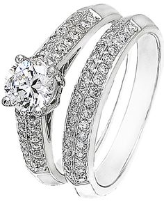 iamond Wedding Ring Set, .52 Carat Diamonds on 14K White Gold