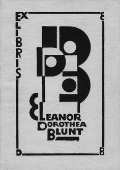 bookplate for Eleanor Dorothea Blunt ... art deco style lettering of monogram initials EDB and her name