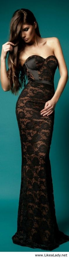 Black Lace Gown by Cristallini Catolog 2013