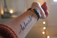 """Beloved: a word of intimacy, a word that represents a father's love, a love from a Heavenly Father whose loves never fails. Because I am His Daughter, secure in who He tells me I am. I am loved, I am accepted, I am good enough, I am unique, I am under grace, I am beautiful, I am chosen, I am His. As I hear all of those things over it all I hear him gently whispering """" You are my beloved daughter in whom I am well pleased"""" Matt. 3:17 Font Credit: Natasha Vanderburg Tattoo Word Fonts, Word Tattoos, Mini Tattoos, Cute Tattoos, Body Art Tattoos, Sleeve Tattoos, Tattoo Ink, Tatoos, Blue Ink Tattoos"""