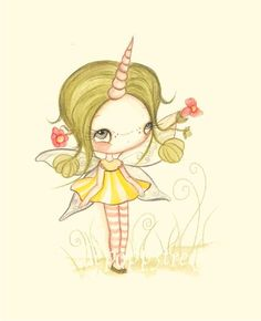 Fairy Painting Whimsical Unicorn Flower Fairy Wall by thepoppytree